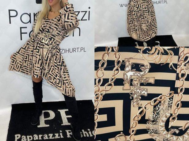 Elegancka sukienka fendi z kapturem złota blaszka paparazzi