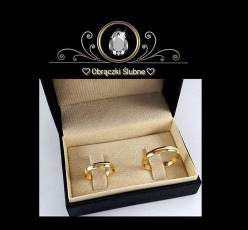 Tradycyjna Piękna Para Złotych Obrączek Ślubnych