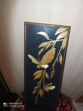 Винтажная картина с бронзовой рамкой