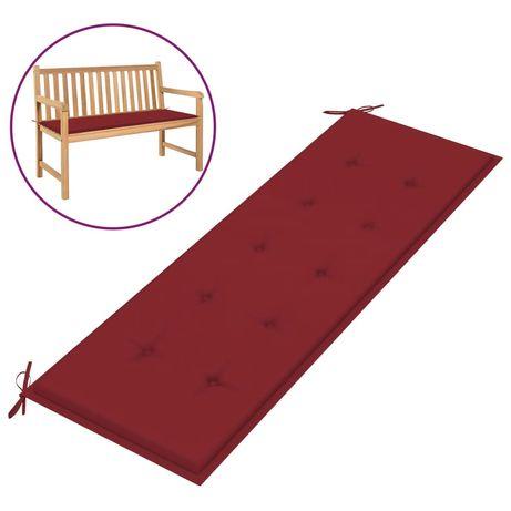 vidaXL Almofadão p/ banco de jardim 150x50x4 cm tecido vermelho tinto 314086
