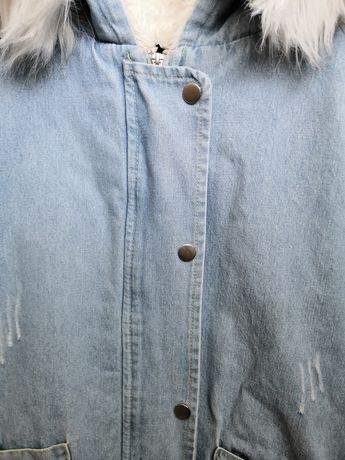 Стильная джинсовая куртка на меху