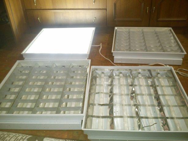 Светильники растровые потолочные люминесцентные (встраиваемые) 4 шт.