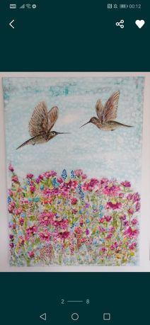 Obraz 70 x 50 cm akryl. Ręcznie namalowany.