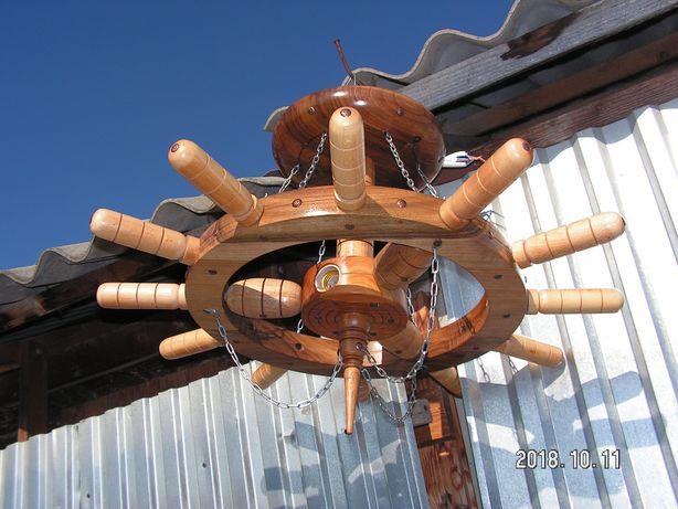 світильник колесо, світильник штурвал, деревяная люстра