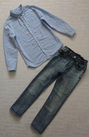 Модный костюм casual/в школу: джинсы Zara + рубакшка M&S, 7-8лет
