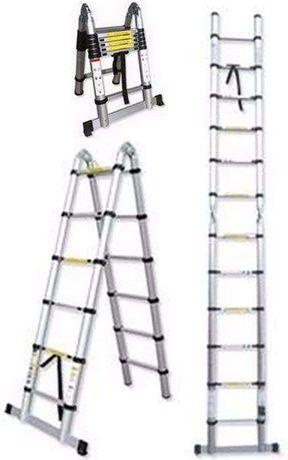 Escada / escadote aluminio Telescópica Dobrável JBM 3,80 mt altura