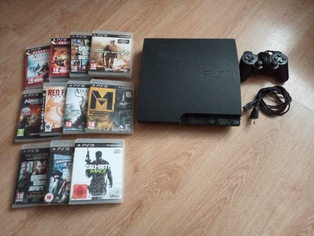 PlayStation 3+pad+kabel+11 gier