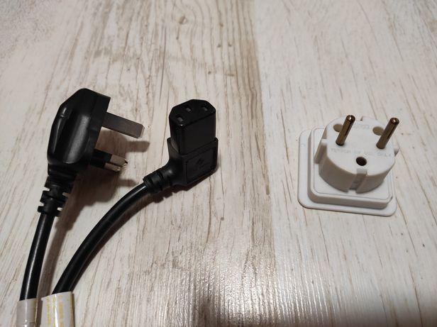 Kabel do zasilania PC z przejściówka do gniazdka angielskiego