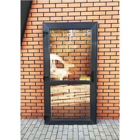 drzwi białe PVC sklepowe szyba NOWE zewnętrzne 100x210