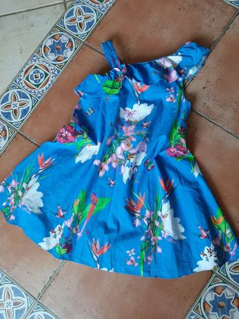 Ted Baker śliczna sukienka w kwiaty ptaki na jedno ramię r 122cm 7 lat