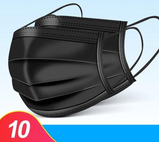 Maseczka maska jednorazowa ochronna czarna 10 szt