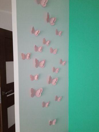 Zestaw ozdób na ścianę motylki przestrzenne ponad 30 sztuk