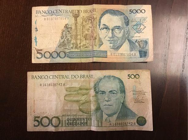 5 Notas Brasil e 2 Uruguai portes grátis