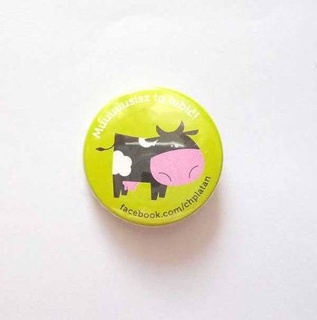 śmieszna przypinka, vintage przypinka, krowa broszka