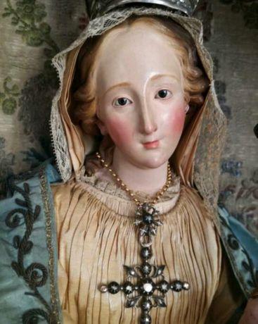 1750r Maryja z Jezuskiem diamenty złoto srebro witryna barokowa antyk