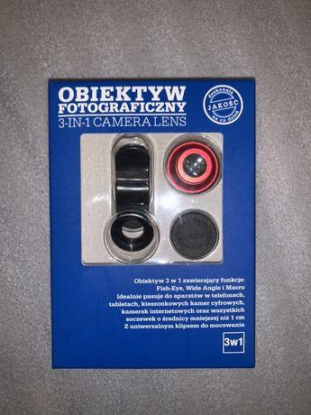 Obiektyw fotograficzny 3 in 1 camera lens soczewki na aparat do tel