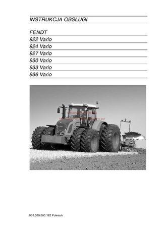Instrukcja obsługi ciągniki 922, 924, 927,-930,-933-936-Vario