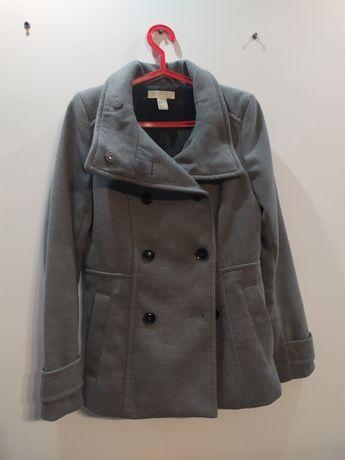 Szary ciepły zgrabny płaszczyk wiosenno-jesienny H&M