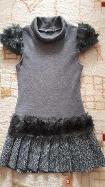 Платье теплое на возраст 7-9 лет