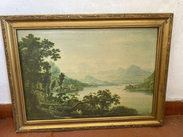 """картина """"Вид на Лаго де Маджоре"""" Матвеев В.Ф. офсет 60*75 1977 год"""
