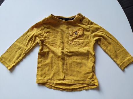 Koszulka długi rękaw kieszonka melanż 3-6 miesięcy