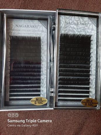 4 палетки ресниц Nagaraku mix 0.10с 7 - 15 mm