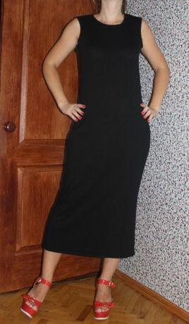 Платье футляр черное длинное классика с разрезом
