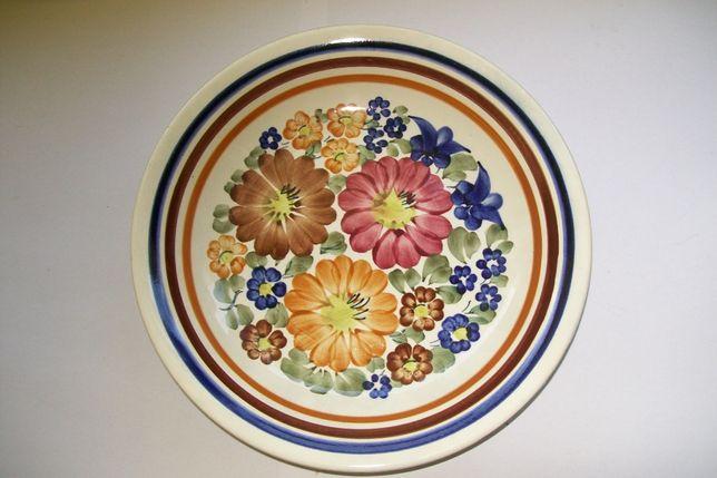 Talerz dekoracyjny fajans Włocławek sygnowany ręcznie malowany
