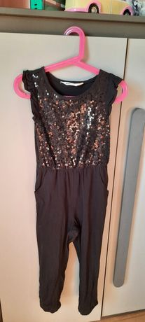 Kombinezon h&m r 116 czarny, cekiny, spodnie, kostium