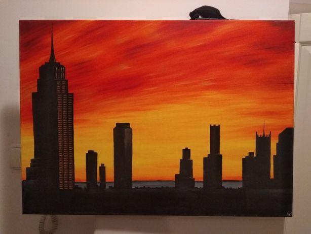 Obraz miasta ręcznie malowane