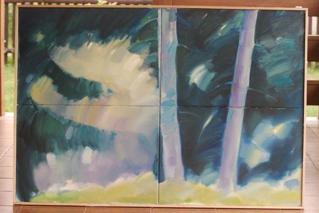 """Obraz olejny ręcznie namalowany """"W lesie"""""""