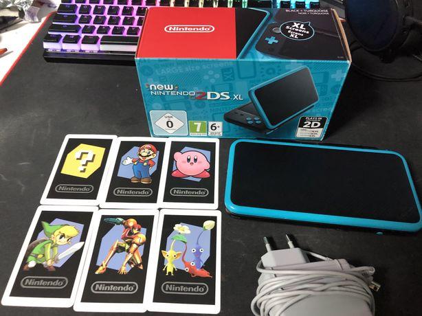 New Nintendo 2ds XL + ladowarka + pudelko + zainstalowane gry