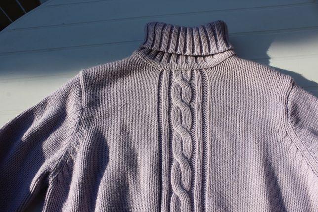 sweter liliowy Berkertex golf bawełniany