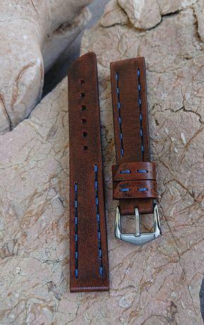 Pasek do zegarka ręcznie robiony - 18 mm. Skóra naturalna - hand made