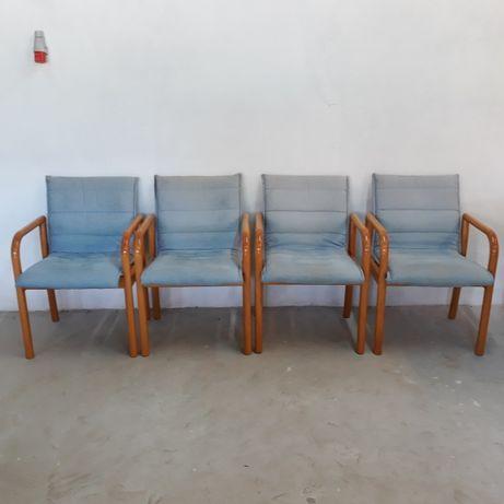 Krzesła drewniane obicie materiałowe ściągane, 4 sztuki