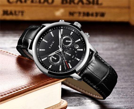 Zegarek męski LIGE aktywne małe tarcze, datownik, skórzany pasek