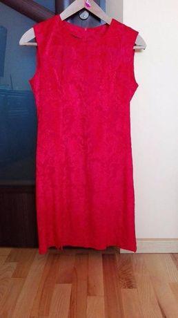 Czerwona elegancka sukienka + narzutka płaszczyk rozm. L/40