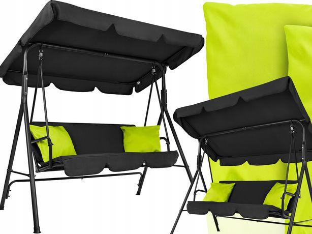 Huśtawka ogrodowa metalowa 3-osobowa bujana ławka + duże poduszki
