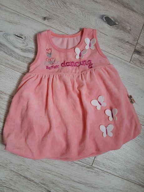 sukienka bombka 68 cm welurowa welur na ramiaczkach
