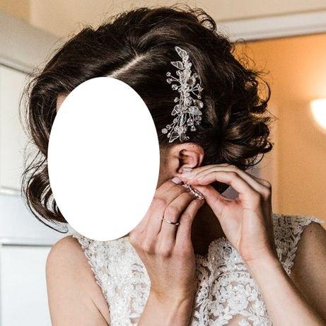 Srebrna ozdoba do włosów ślubna na grzebyku liście boho