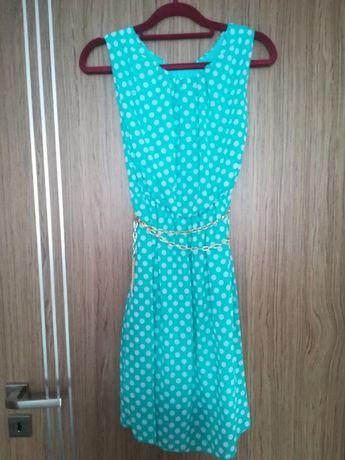 Miętowa sukienka w groszki r. M