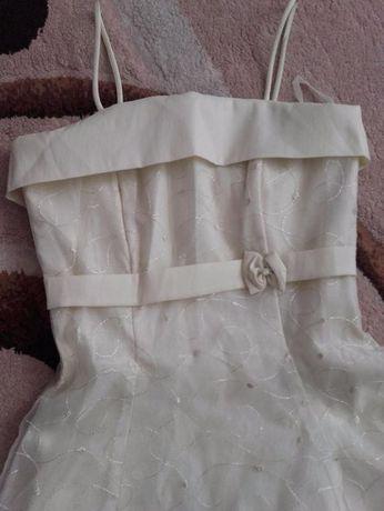 Sukienka na ramiączka z koronkową podszewką r. S