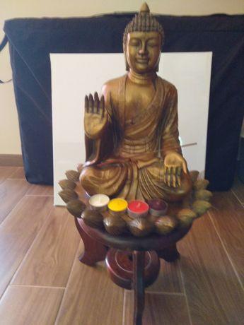 Linda Estátua de Buda com base em madeira - Conjunto 67 cm de altura