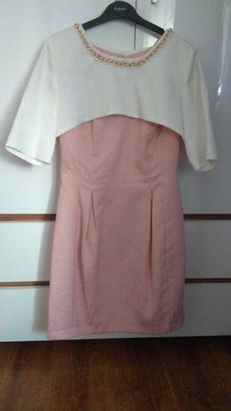 Sukienka + bolerko pudrowy róż 38
