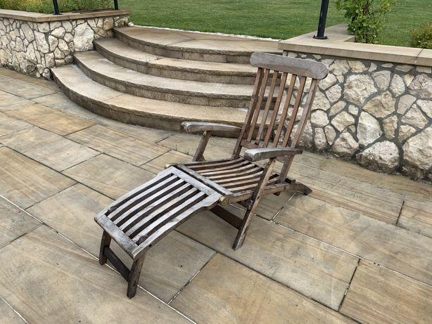 Leżak z drewna teakowego , fotel ogrodowy z podnóżkiem