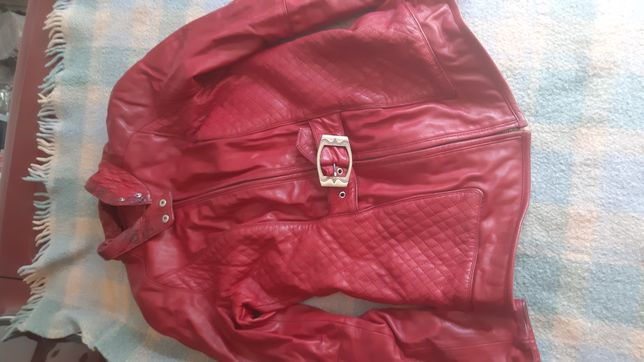 Куртка кожаная красная