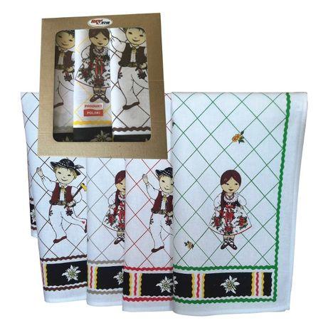 Komplet kuchenny Góralski 3 ścierki + ekskluzywne pudełko 100% baweł