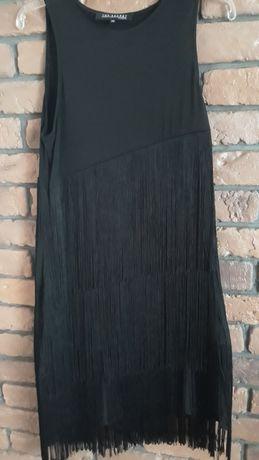 Czarna sukienka z frędzelkami Top Secret,  40