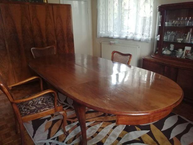 Stół owalny, antyk, fornir + krzesła gratis
