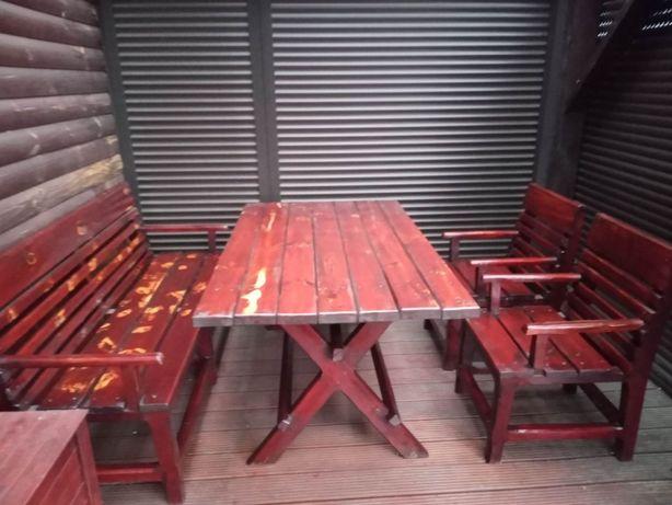 Meble ogrodowe - stół, ława (3 os) i 2 krzesła/fotele (lite drewno)